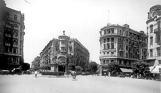 L-R: David Adda Building; Soliman Pasha Street; Stadard Life Insurance Bldg; Kasr al-Nil Street; Groppi Bldg; Antikhana Sreet; Senator Michel Ayoub Pasha Bldg (director of Alexandria customs and stock exchange)